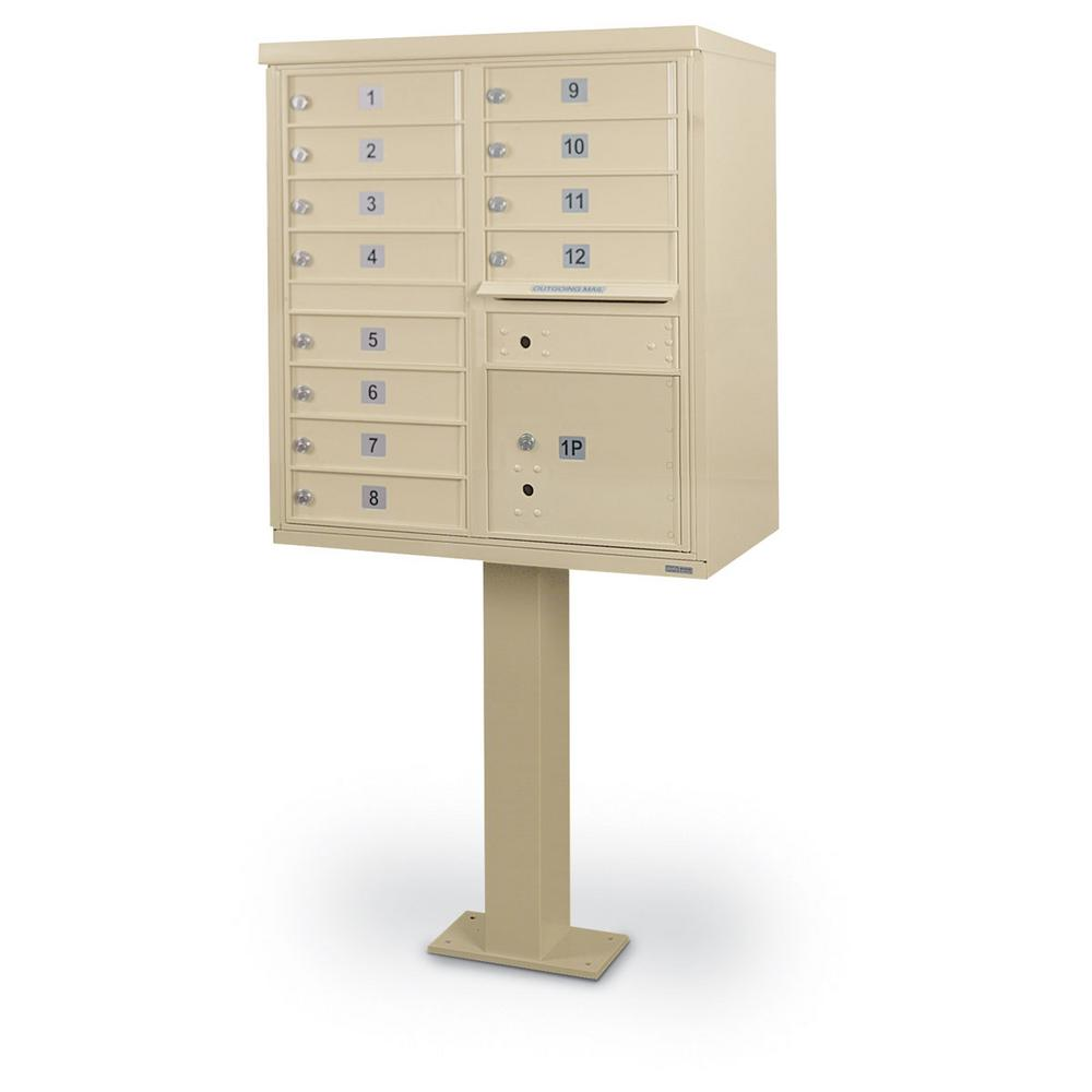 12-Compartment F-Spec Mailbox Cluster Box Unit with Pedestal
